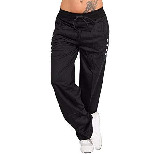 Pongfunsy Women's Casual Pants Ladies High Waist Strap Pants Solid Color Button Wide Leg Pants Loose Sport Yoga Pants Black (Lounges For Black Sale Leather)