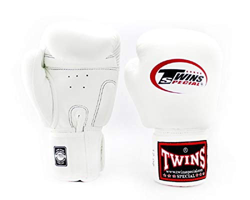 Twins Gloves for Training and Sparring Boxing, Muay Thai, Kickboxing, MMA (White,8 oz)