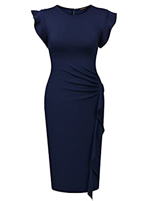 Miusol Women's Business Retro Ruffles Cap Sleeve Slim Cocktail Pencil Dress