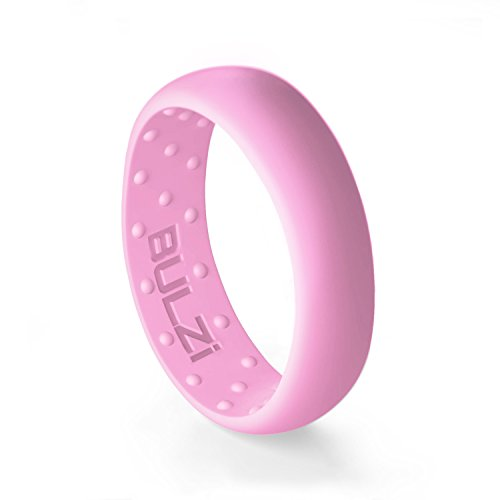 BULZi – Massaging Comfort Fit Silicone Wedding Ring - #1 Most Comfortable Women's Wedding Band – Round Edges with Flexible Work Safety Domed Design (Pink, Size 5 - (6mm Width Band))