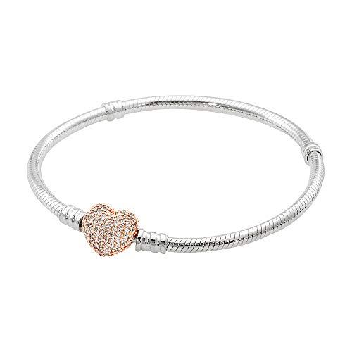 Pandora Moments Silver Bracelet with Rose Pave Heart Clasp 586292CZ21