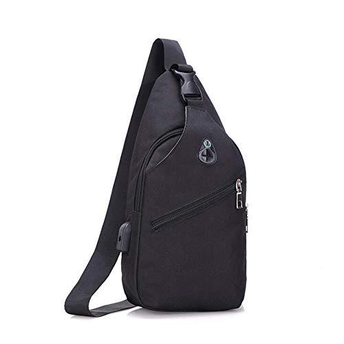 Opladen Bag Met Zwart Casual Sling Famesale USB Crossbody Kleur Voor En Eenvoud Gat Rits Effen Koptelefoon E0zqxZ0w