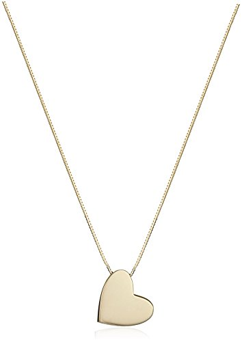 14k Yellow Gold Floating Angled Heart Pendant Necklace, 17