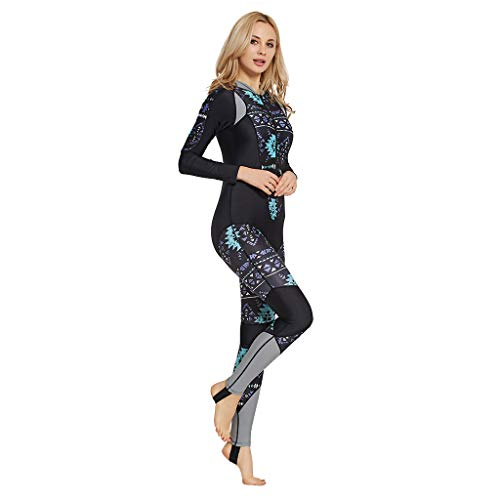 Colmkley Womens Wetsuit Printing Full Body Surfing Scuba Diving Snorkeling Swimming Suit One Piece Wetsuit