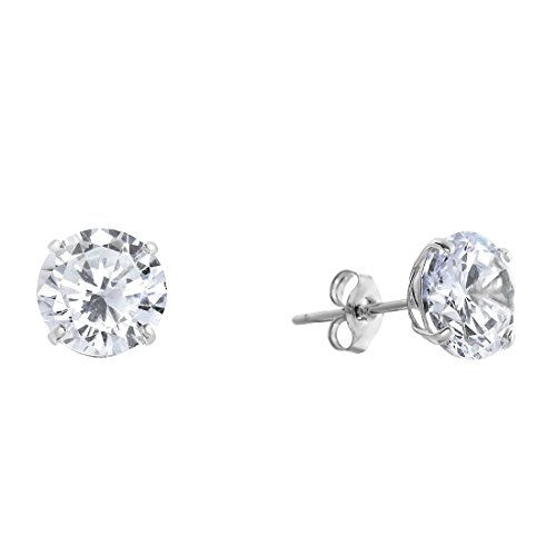 14k White Gold Solitaire Round Cubic Zirconia Stud Earrings with Gold butterfly Pushbacks (6mm)
