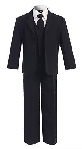 OLIVIA KOO Boys Classic Suit Set with Cloth Cover Buttons 12 Black]()
