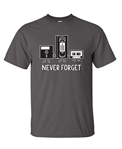 Never Forget Funny Retro Music Mens Novelty Funny T Shirt L Charcoal2 (Old School Vintage T-shirt)