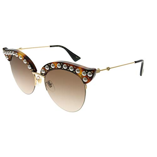 Gucci Brown Gradient Cat Eye with Pearls Sunglasses GG0212S 002 53