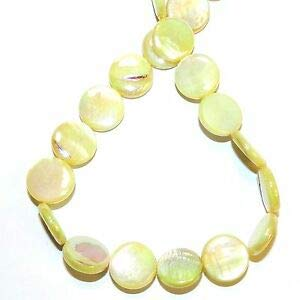 Steven_store MP2497 Yellow AB 15mm Flat Round Coin Mother of Pearl Shell Beads 14
