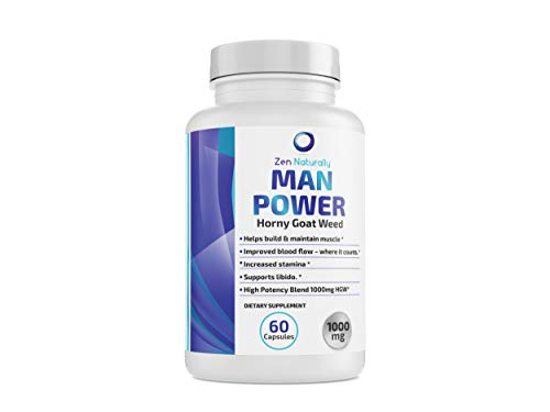 Man Power - Premium Horny Goat Weed 1000 mg - Epimedium with Icariins & Saw Palmetto & Maca Root Powder. Potent 9 Herb Blend for Active Men - Naturally Boost Your Sexual Health, Stamina, Energy