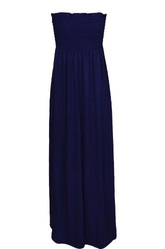 De mujer con Maxi vestido Oromiss elástico con una tira de sin tirantes vestidos de damas de panel inferior sin tirantes diseño de larga Reunidos azul marino