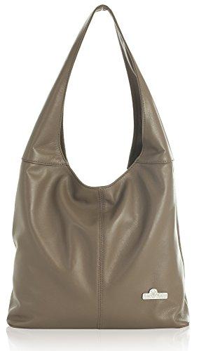 Shoulder Genuine Liatalia Hobo Taupe Olivia Deep Italian Shopper Soft Leather Medium Bag CdH0dwq