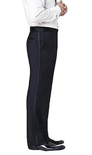 Neil Allyn Men's Flat Front Satin Stripe Tuxedo Pants, Black, 38