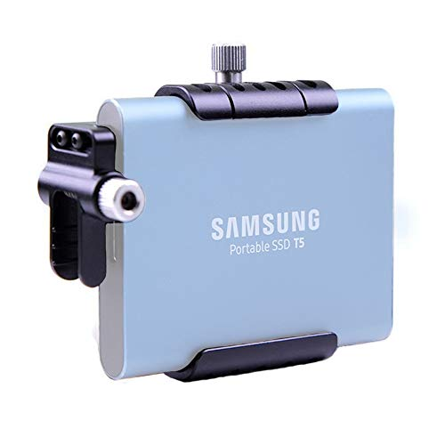 Lanparte SSD T5 Mount Bracket with Cold Shoe Mount Cable Clamp Compatible with Samsung T5