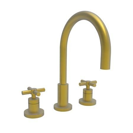 [Newport Brass 990/10 East Linear Double Handle Widespread Lavatory Faucet with Metal Cross Handles (L, Satin Bronze] (Bronze 990 Double Handle)