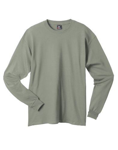 Hanes Beefy-T Men`s Long-Sleeve T-Shirt Stonewashed Green