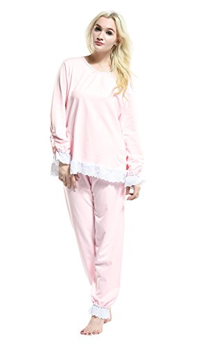 Women Pajamas Sets Nightgowns Sleepwear Tracksuits Nightwear Cotton (L, Pink)
