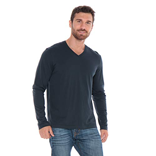 Men's Designer T-Shirt Lightweight Semi Fit Long Sleeve V-Neck 100% Organic Cotton Pre-Shrunk Embroidered - Made in USA (Navy Blue, - Edward T-shirt Fitted