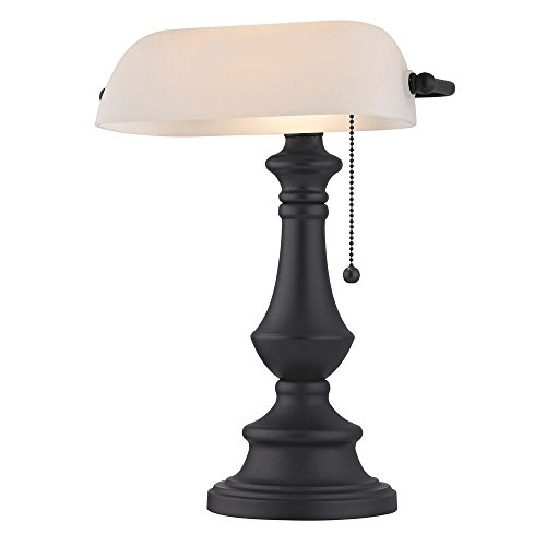 Lamp Contemporary Bankers (Traditional Bronze Bankers Lamp with Pull-Chain and White Opal Glass)