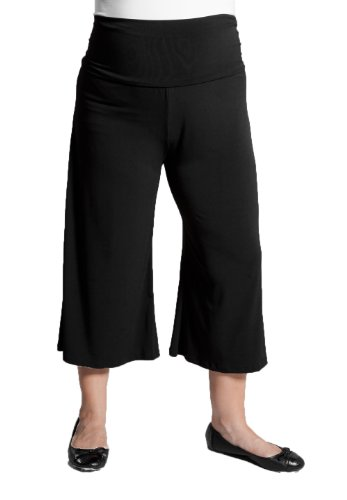 Sealed With A Kiss Designs Plus Size Essential Gaucho Pants in Black
