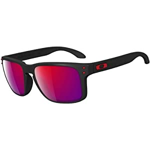 Oakley Holbrook OO9102-36 Iridium Sport Sunglasses,Matte Black/Positive Red Iridium,55 mm