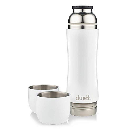 Duett Stainless Steel Double Walled Vacuum Insulated Reusable 3in1 Travel Thermos Water Bottle Drink Flask with 2 Tumbler Cup Mugs Set to Share Hot or Ice Cold Coffee, Tea, Wine, Beverages (White)