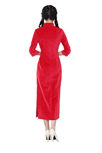 Lang Farben Rot Ärmel Punkten Sieben ACVIP Reine Schlitz Lange Damen Cheongsam wqv8xtX