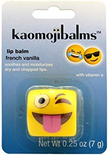 Kaomojibalms Lip Balm - Face With Stuck-Out Tongue And Winking Eye - French Vanilla
