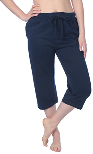 Beverly Rock Women's Capri French Terry Pant Available in Plus Size JFTC_18 Navy M ()