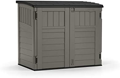 Suncast 4 x 2 Horizontal Storage Shed – Natural Wood-Like Outdoor Storage for Trash Cans and Yard Tools – All-Weather Resin Material, Hinged Lid Design and Reinforced Floor – Stoney