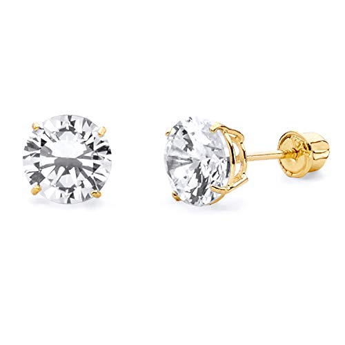 (14k Yellow Gold 6mm Round Solitaire Basket Set Stud Earrings with Screw Back)