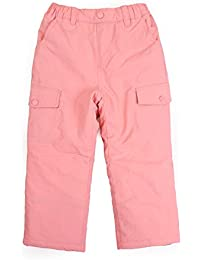 TOTO HEROS Kids & Toddler Girls Boys Water Resistant Insulated Snow Pants (L) Pink