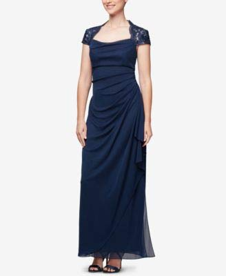 Alex Evenings Women's Empire Waist and Lace Ruched Dress (Petite and Regular), Navy/Nude, 8