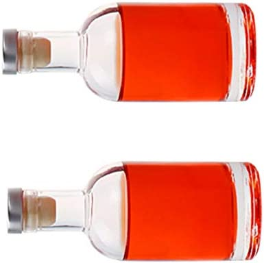 UPKOCH Botella de Vino de Licor de Vodka 2 Piezas Botella de Licor Vacía de Licor Botella de Whisky de Vidrio Transparente - 200 Ml