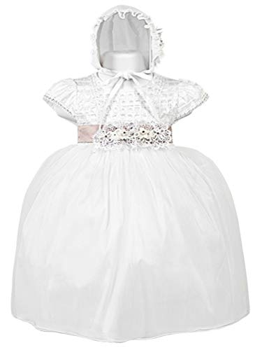 - Alegria Kids Baby Girls White Pintuck Beaded Bonnet Christening Dress 18-24M