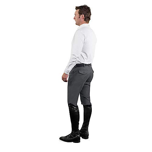 Ovation Men's Euroweave Four Pocket Full Seat Dx Breeches Charcoal Grey 34 R US
