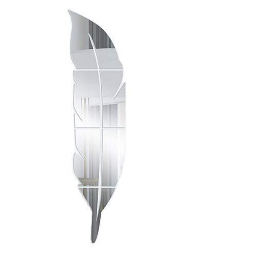 HYRL Espejo Pegatinas De Pared Auto-Adhesivo 3D Estéreo Acrílico Pluma Montaje Espejo Porche Baño Espejo Decorativo...