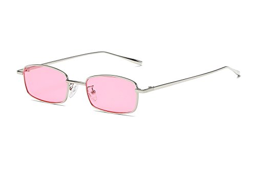 FEISEDY Vintage Slender Square Sunglasses Retro Small Metal Frame Candy Colors B2295