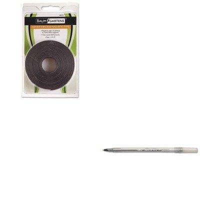 kitbau66010bicgsm11bk – Valueキット – Baumgartens adhesive-backed磁気テープ(bau66010 ) とBic Round SticボールペンStickペン(bicgsm11bk)   B00MOTGKZE