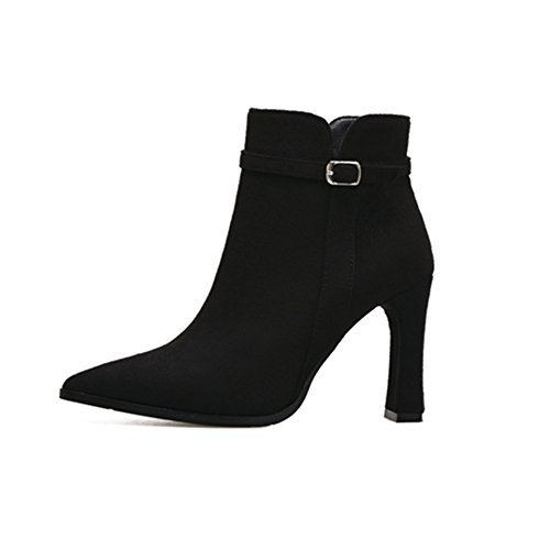 juqilu Ankle Boots For Women Ladies Fleece Lined Warm Shoes Comfortable Block Heel Zipper Casual Suede Boots For Office Party 9cm Black 1 MJaph2Xz