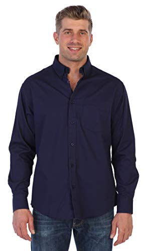 (Gioberti Mens Long Sleeve Casual Twill Shirt, Navy, Large)