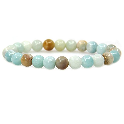 Jewelry Amazonite (Natural Multicolor Amazonite Gemstone 8mm Round Beads Stretch Bracelet 7
