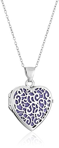 Sterling Silver Italian Heart with Freeform Design Purple Locket Necklace, 18