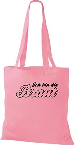 shirtstown Borsa di stoffa JGA IO STO Die SPOSA VARI COLORI - rosa, 42 cm x 38 cm
