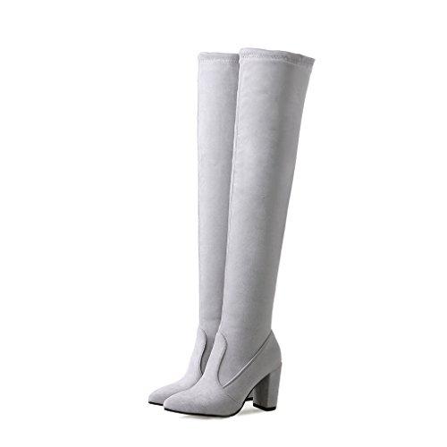 suède femme chaussures Bottes talon sexy élastique hiver bloc pointu bout Gris Oaleen cuissardes 5UwRq8UI