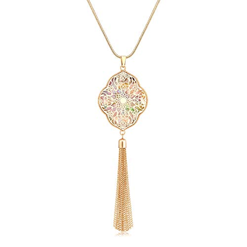 MOLOCH Long Necklaces for Woman Disk Circle Pendant Necklaces Tassel Fringe Y Necklace Set Statement Pendant (Quatrefoil-Gold-Floral)