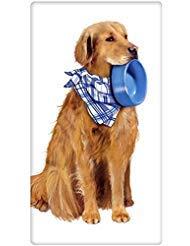 Golden Retriever Dog Dish Dog Flour Sack Cotton Kitchen Dish Towel - 30