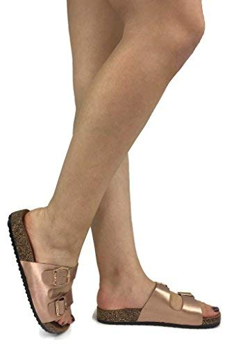 Anna Women's Double Strap Cork Sole Slide Sandal with Buckle, Rose Gold, 7.5 ()