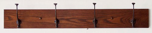 Amish Coat Hangers - Mission Coat Hanger Solid Oak 4 Wrought Iron Hooks (Select Your Own Paint/Stain)