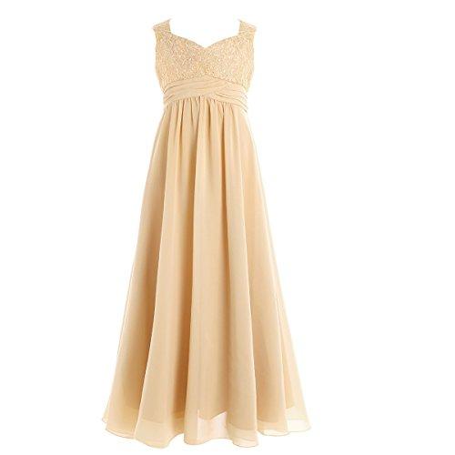 iiniim Girl's Chiffon Lace Pageant Wedding Party Bridesmaid Flower Girl Dress Champagne (Chiffon Girls Dresses)